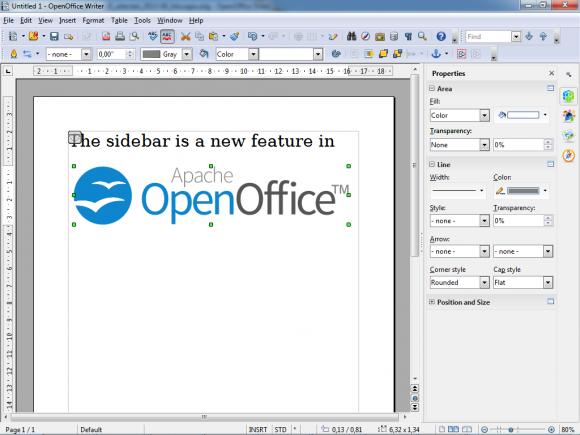 Apache OpenOffice Writer Sidebar