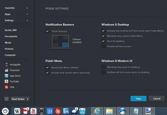 Windows 8: Mit Pokki zurück zum Startmenü (Einstellungen)