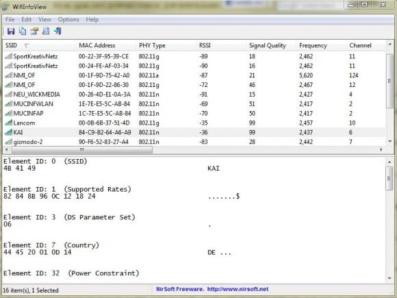 WifiInfoView liefert detaillierte Angaben zu WLAN-Netzen in der Umgebung