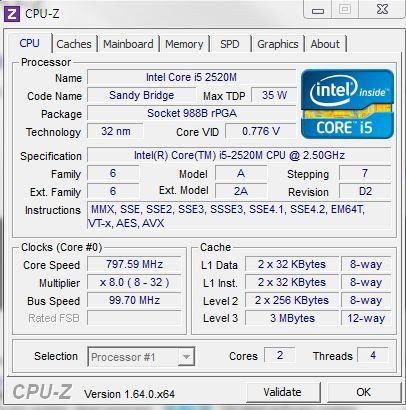CPU-Z zeigt CPU-Details