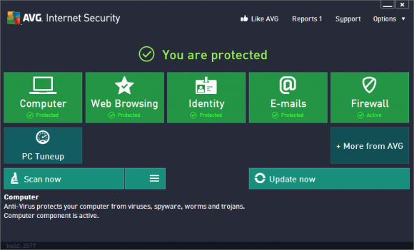 AVG Anti-Virus Free Edition 2013 : Status-Screen