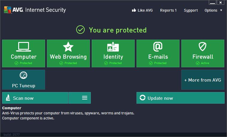 AVG Anti-Virus Free Edition 2013 : Status-Screen