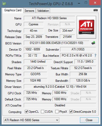 GPU-Z: AMD Radeon 5800