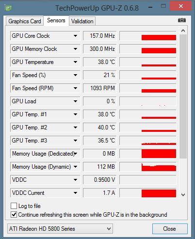 GPU-Z: AMD Radeon 5800: Sensoren