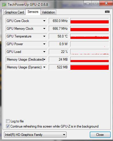 GPU-Z: Das Tool zeigt zudem die aktuellen Betriebsparameter an, die von Sensoren übermittelt werden