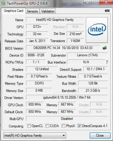 GPU-Z zeigt technische Daten und Betriebsparameter der verwendeten Grafikkarte an.