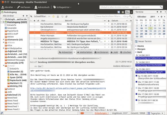 Thunderbird: Der Mozilla-Email-Client steht für verschiedene Betriebssysteme zur Verfügung.