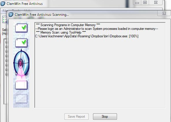 ClamWin Free Antivirus: Memory-Scan