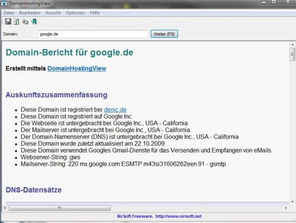 domainhostingview liefert detaillierte Angaben zu einer Website-Adresse