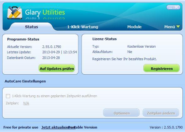 Glary Utilities: Status
