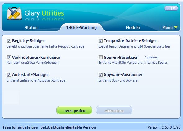 Glary Utilities: 1-Klick-Wartung