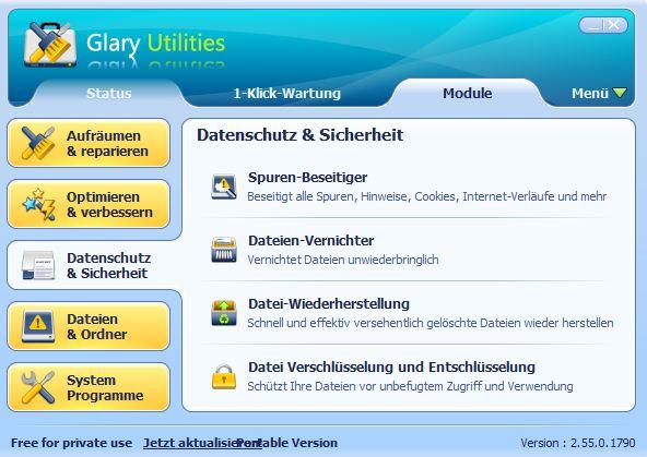 Glary Utilities: Datenschutz & Sicherheit