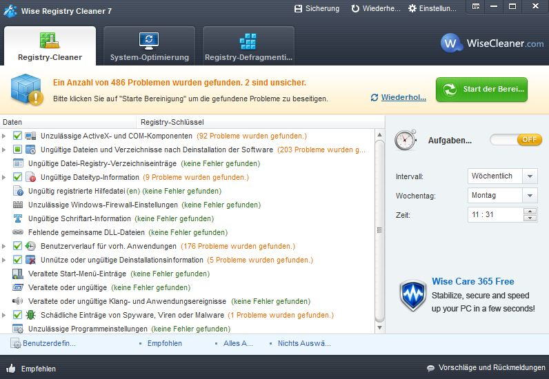 Registry Cleaner: Windows-Systemdatenbank aufräumen