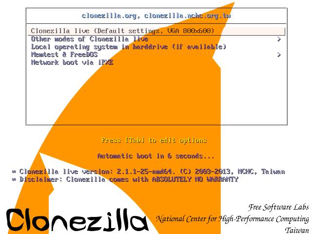Clonezilla: Start