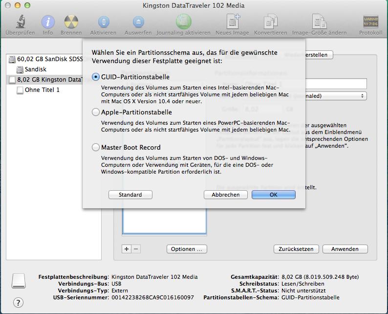 Zunächst muss der USB-Stick partitioniert und formatiert werden: empfehlenswert sind GUI-Partitionsschema und Mac OS  Extended (Journaled)