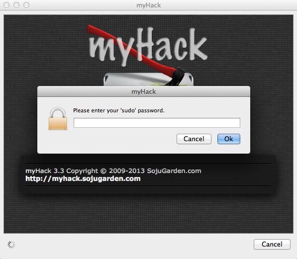 Nach dem Start von myHack muss das Admin-Passwort eingeben werden.