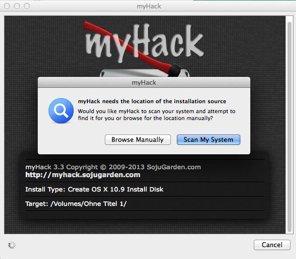"""Mit """"Scan My System"""" sollte myHack die OS X Install App finden."""