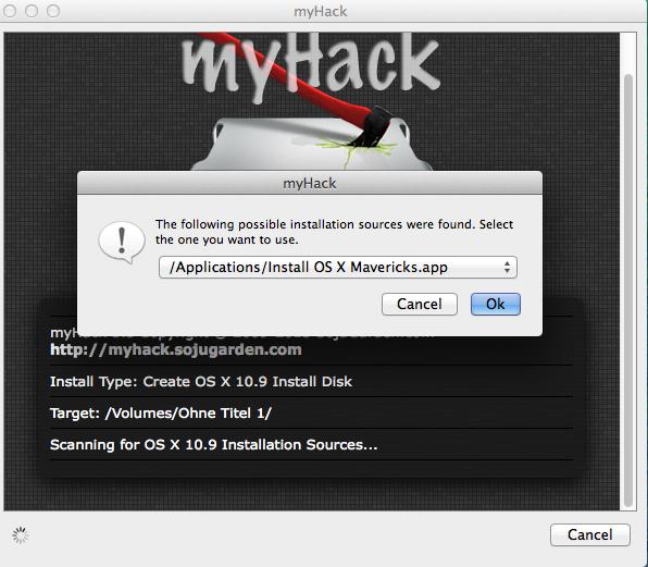 """So schaut es aus, wenn myHack die """"Install OS X Mavericksk.app"""" gefunden hat."""