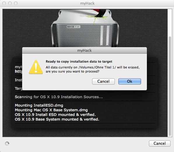 Noch eine letzte Abfrage, bevor die Kopieraktion startet. Der USB-Stick wird als nächste gelöscht.