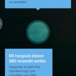 Mit Hangouts können nun auch SMS verschickt werden. Auch diese App funktioniert unter Jelly Bean.