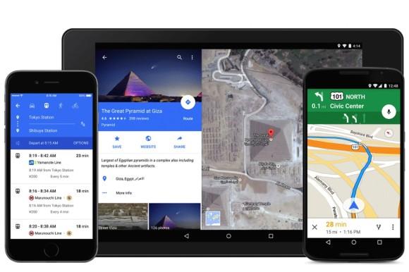 Google hat die Oberfläche von Maps an das Material Design von Android 5.0 Lollipop angepasst (Bild: Google).