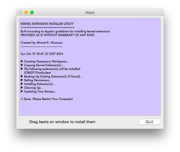iKext: Kernel Extensions unter OS X bequem installieren (Screenshot: ZDNet.de)