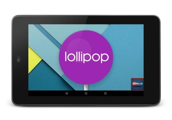 Nexus 7 2012 mit Android 5.0 Lollipop (Bild: ZDNet.de)