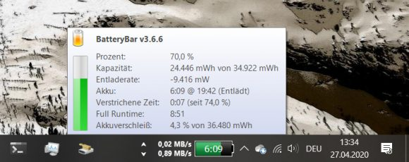 BatteryBar (Screenshot: ZDNet.de)