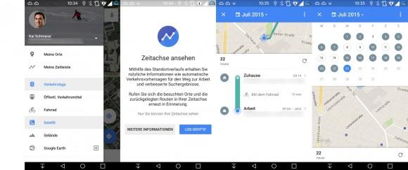 Google Maps: Zeitachse (Bild: ZDNet.de)