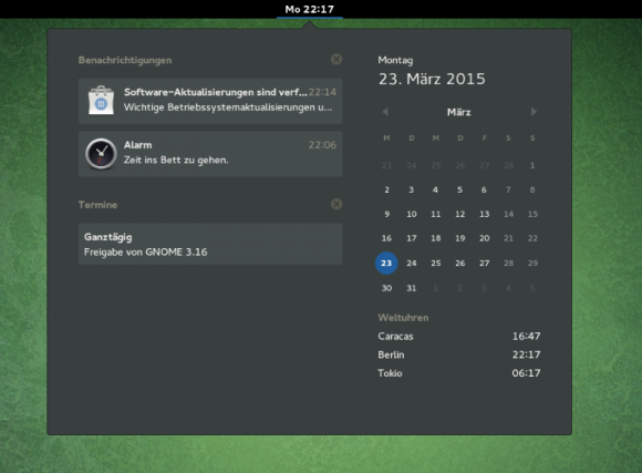 calendar-notifications (Screenshot: GNOME-Projekt)