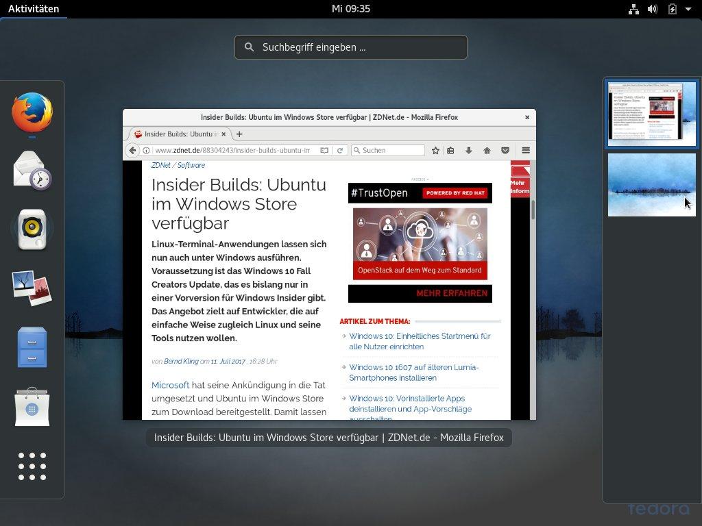 Fedora 26: Firefox (Bild: ZDNet.de)