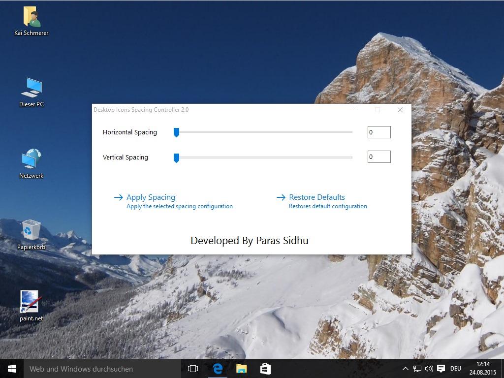 Desktop Icon Spacing Controller erlaubt die Modifikation des Abstandes von Programmsymbolen (Screenshot: ZDNet.de)