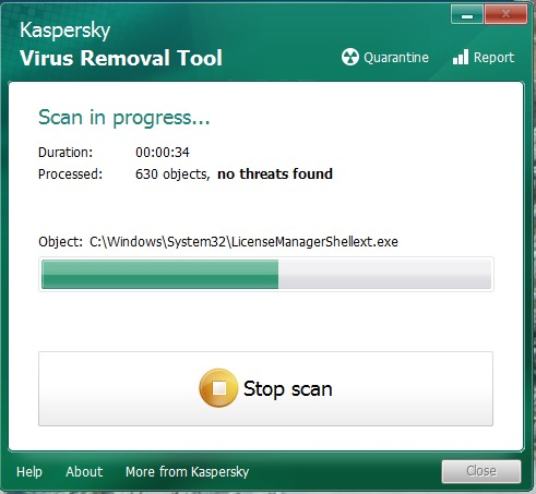Kaspersky Virus Removal Tool (Screenshot: ZDNet.de)