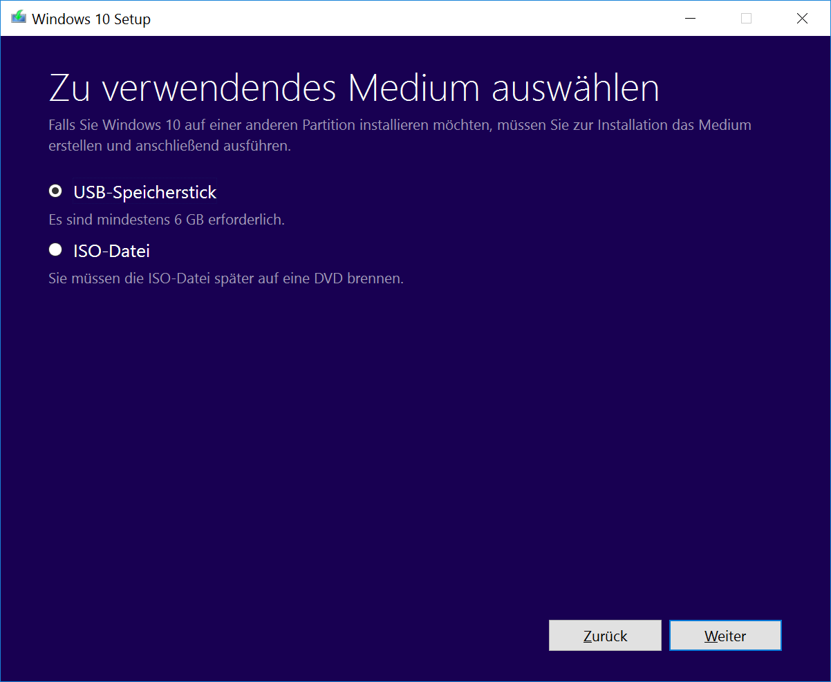 Windows 10 MediaCreationTool (Screenshot: ZDNet.de)