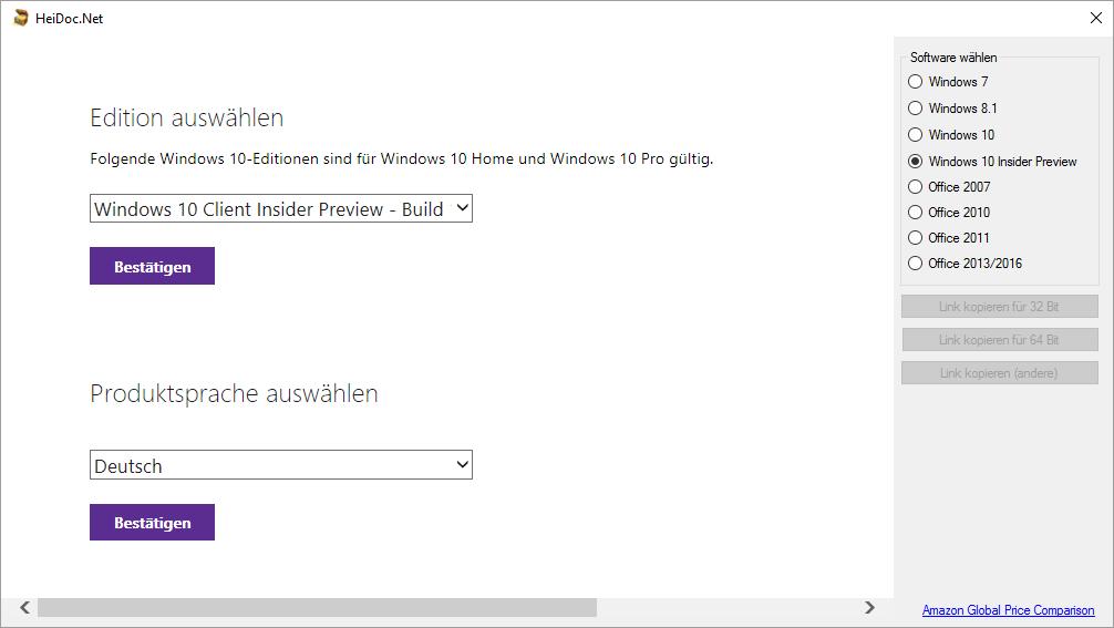 Microsoft Windows und Office ISO Download Tool(Screenshot: ZDNet.de)