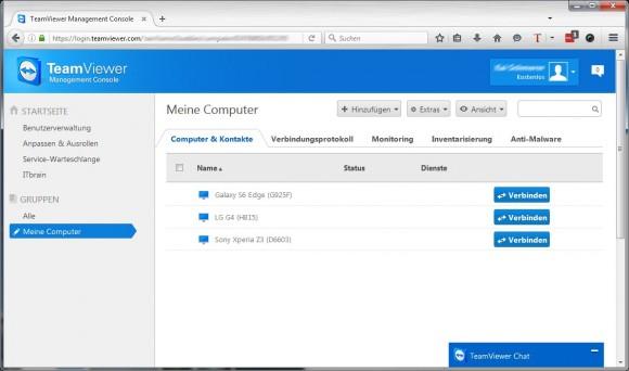 TeamViewer Management Console (Screeenshot: ZDNet.de)