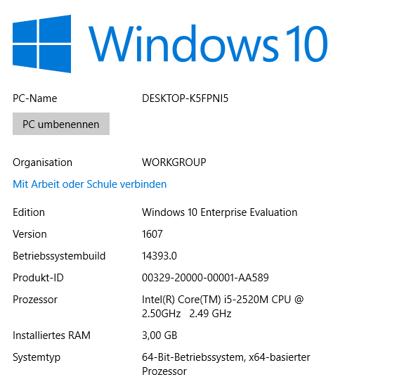 Windows 10 1607 Enterprise (Screeenshot: ZDNet.de)