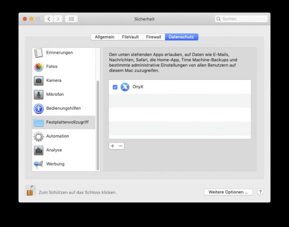 Onyx: Festplattenvollzugriff (Screenshot: ZDNet.de)