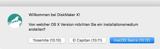 DiskMaker X 6 erlaubt das Erstellen eines bootbaren USB-Sticks mit OS X 10.10 Yoesemite, OSX 10.11 El Capitan und macOS SIerra 10.12 (Screenshot: ZDNet.de)