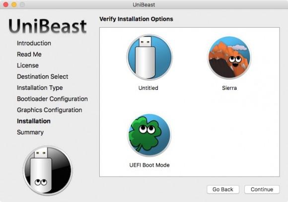 UniBeast 7.0.1 erstellt einen bootfähigen USB-Stick auf Basis von macOS 10.12 Sierra (Bild: ZDNet.de)