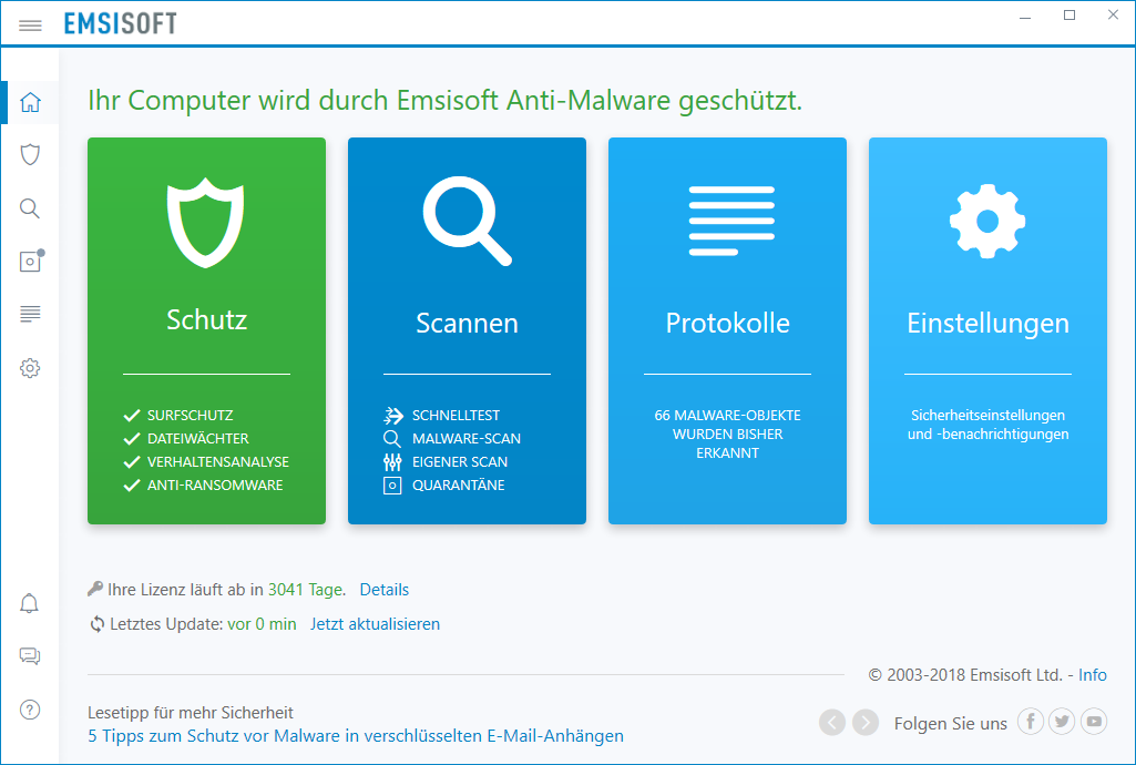 Emsisoft Anti Malware 2018 (Bild: Emsisoft)