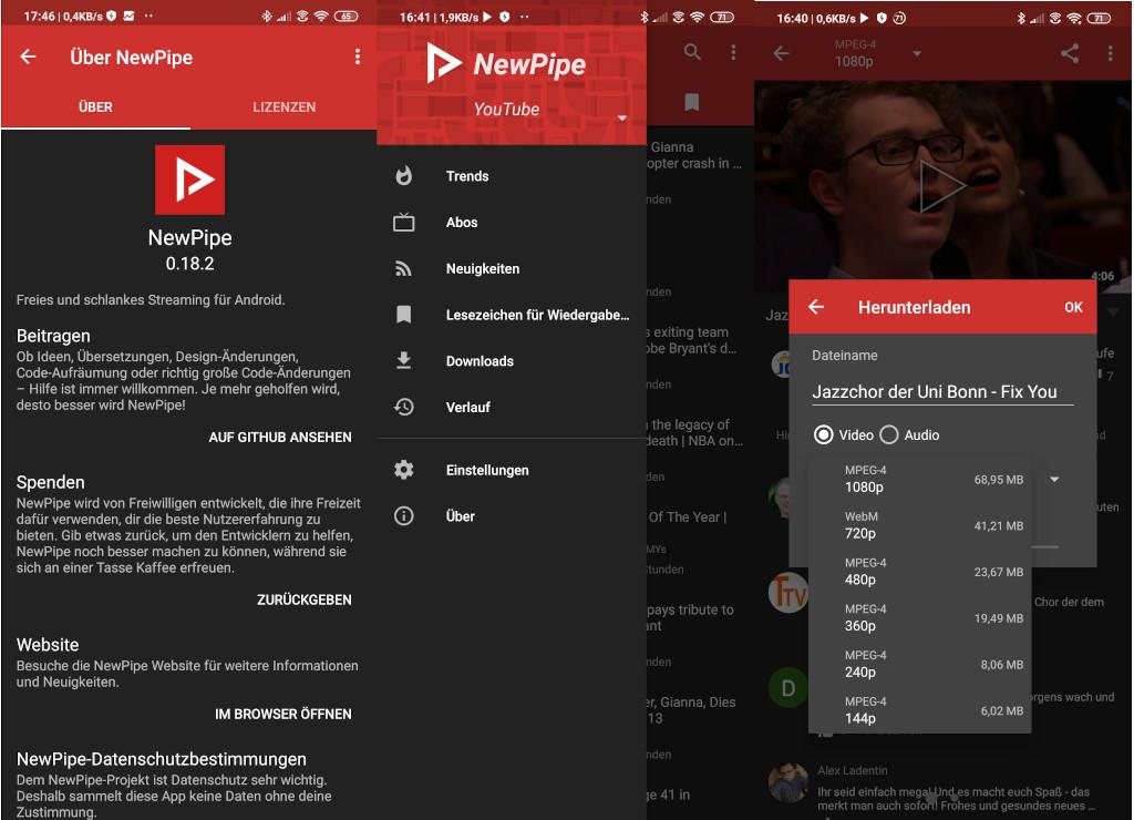 NewPipe (Screenshots: ZDNet.de)