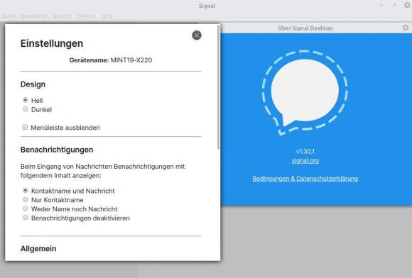 Signal Desktop unter Linux (Bild: ZDNet.de)